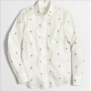 J CREW PERFECT FIT PINEAPPLE BUTTON DOWN SHIRT